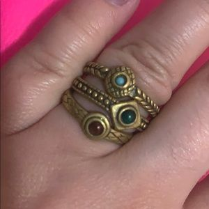 Free People Multicolored Stone Stacking Rings